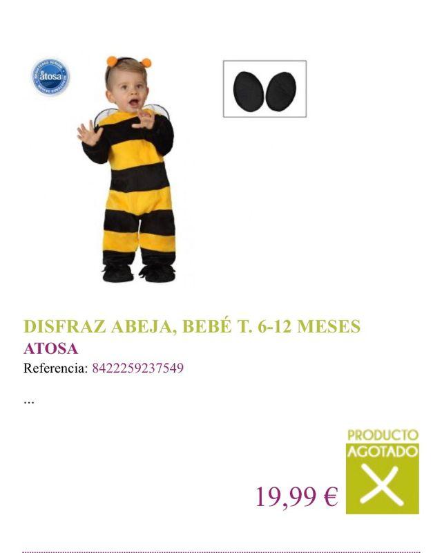 Disfraz para bebés abejita (6 a 12 meses)