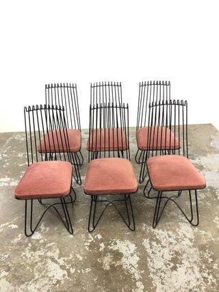 Set 6 sillas hierro y terciopelo vintage