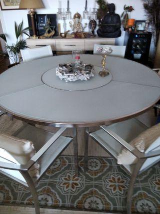 Mesa de cristal y acero 1'65, para barco o terraza