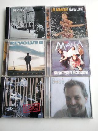 CDs Revolver, Maná, Miguel Bosé, Los Rodríguez.