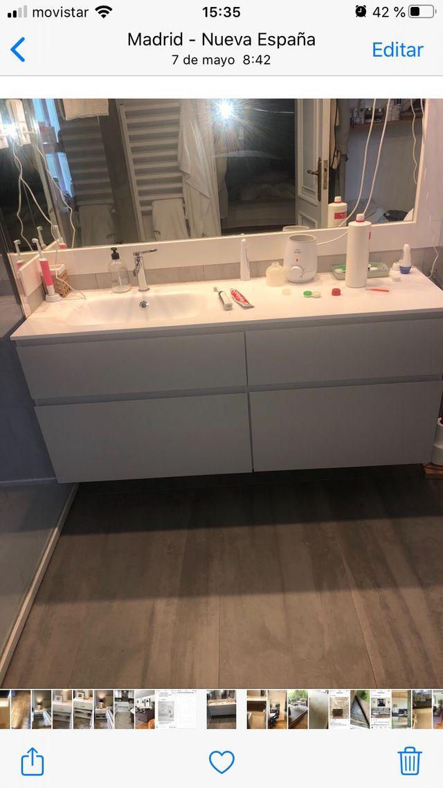 Mueble lavabo con encimera cristalplant