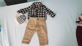 camisa, pantalón y gorrita