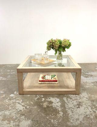 Mesa madera y vidrio - bajo pedido
