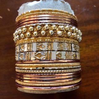 Indian Pakistani Gold Tone 21 Bangles