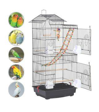Jaula grande pájaros con accesorios + nido