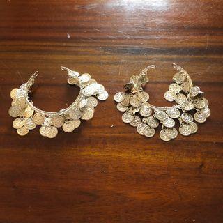 Belly Dancer Silver Tone Coins Arm Cuffs