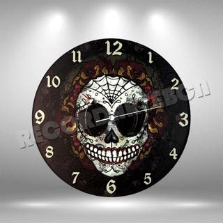 Reloj de Disco LP de Calavera Mexicana 2