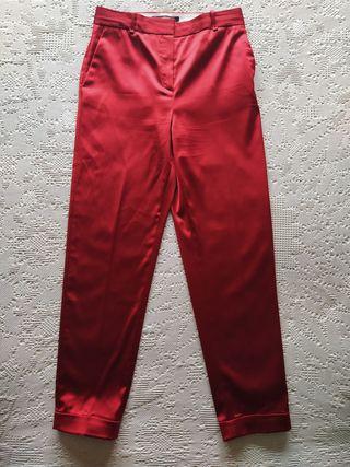 Pantalones satén rojo Uterqüe