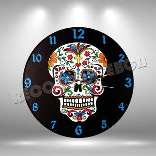 Reloj de Disco LP de Calavera Mexicana