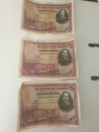 Billete 50 pesetas Diego de Velazquez
