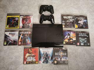 PS3 Super Slim + 2 mandos + 11 juegos