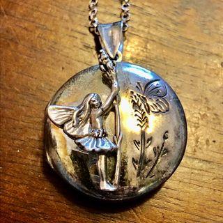 3D Fairy Round Locket 925 Silver & Chain