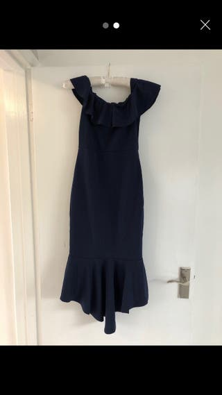Fishtail Shape Navy Dress