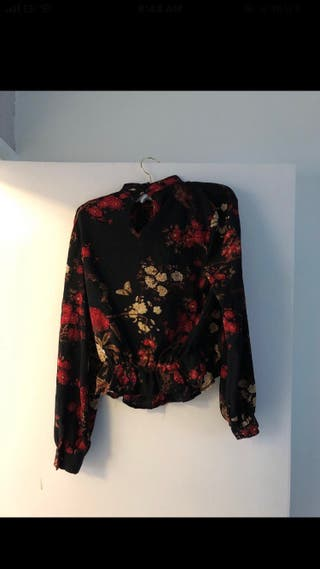 Red & Black Long Sleeved Blouse