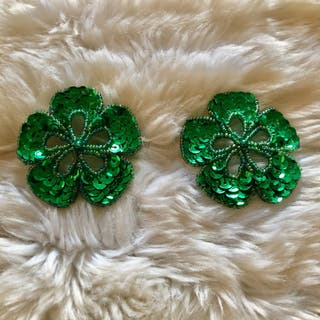 Pair of Green Flower Sequinned Beaded Patch New
