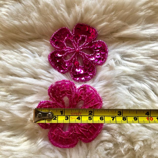 Pair of Pink Flower Sequinned Beaded Patch New