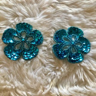 Pair of Blue Flower Sequinned Beaded Patch New
