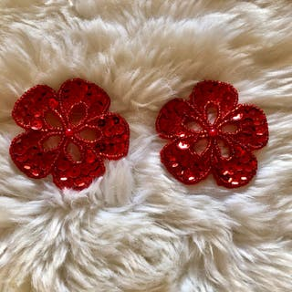 Pair of Red Flower Sequinned Beaded Patch New