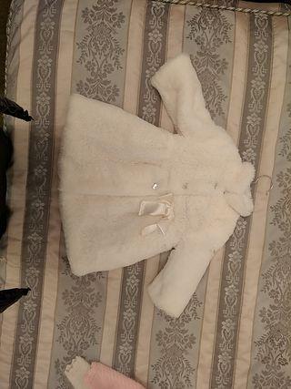 Abrigo de Pelo Blanco. Niña para 1 y 2 años