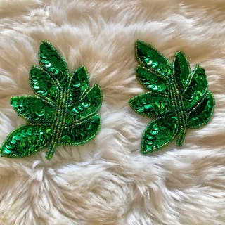 Pair of Green Leaf Sequinned Beaded Patch