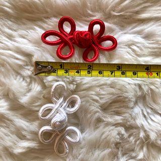 Pair of Red & White Chinese Knot Closure