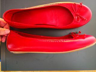 Manoletinas piel rojas