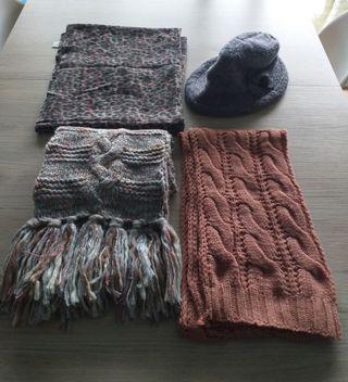 3 bufandas y 1 sombrero mujer perfecto estado