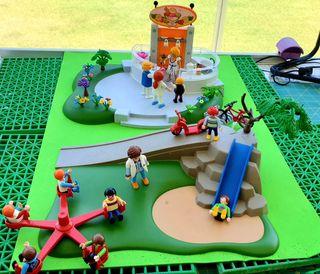 Lote playmobil, parque infantil, heladeria