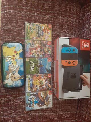 Nintendo switch y 5 juegos