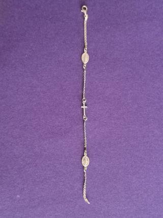 pulsera de plata de ley 925 virgencita y cruz