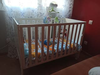 Cuna de bebe, colchón y REGALO SÁBANAS, CUBRECOLCH