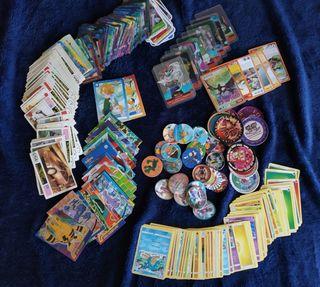 Cartas, cromos, y tazos lote variado
