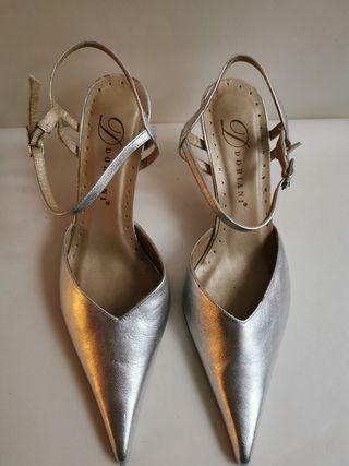 sandalia doriani M2766B plata, oro, plomo