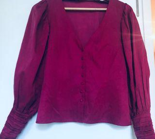 Blusa color frambuesa UTERQÜE talla S