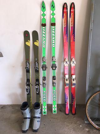 Lote 3 pares esquís y botas Salomon
