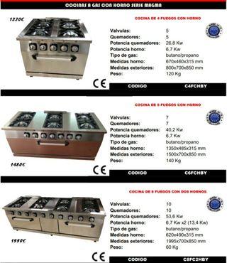 cocina a gas 4 fuegos más horno
