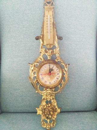 BRONCE. Reloj y termómetro