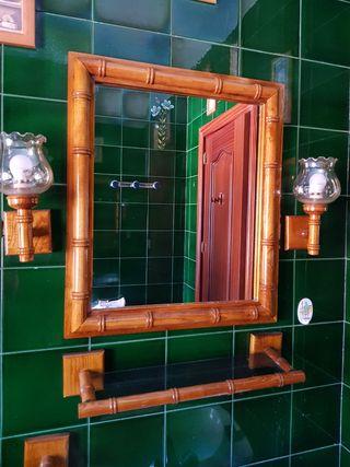 Conjunto madera para baño