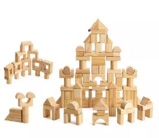 Juego de 100 bloques de madera Montessori. Nuevo.