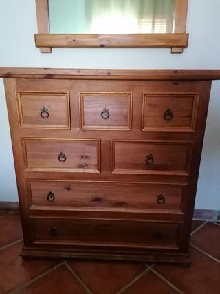 cómoda madera maciza estilo rústico con espejo