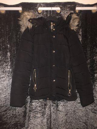 topshop black puffer jacket fur hood