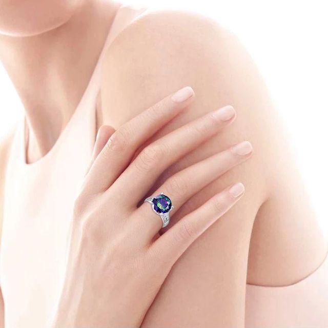 Rainbow Topaz Engagement Ring