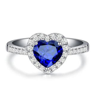Real Natural Sapphire 925S.S Heart Ring