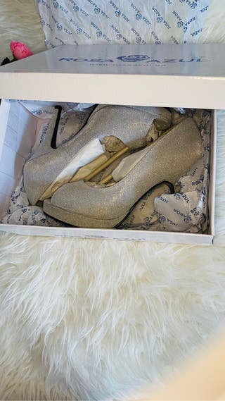 Zapatos de fiesta, plata t36