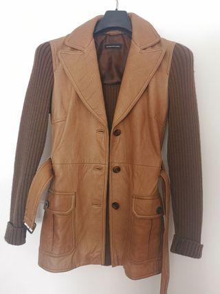 Abrigo de piel y lana Massimo Dutti