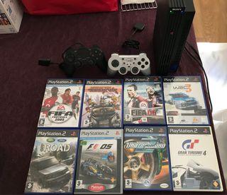 PlayStation 2, 2 mandos y 8 Juegos