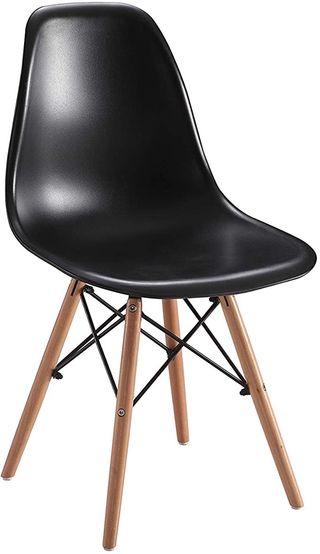 Juego 4 sillas Asiento de Resina, Madera, Negro, U
