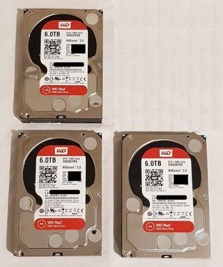 3 discos duros 6 Tb WD Red para NAS
