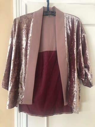 Kimono terciopelo rosa Zara