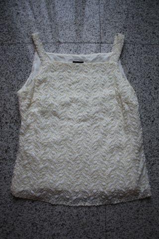 Top Blusa Mopete 42 Texturas Blanco Crema Tirantes